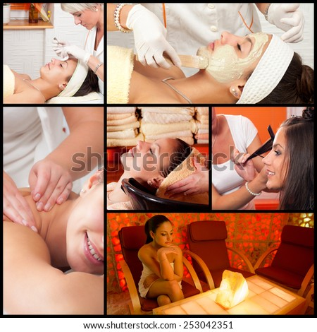 Collage of photos showing complete beautifying process on beautiful young woman in beauty spa. - stock photo