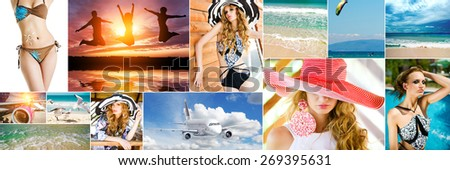 collage of photos summer vacation by the sea  - stock photo