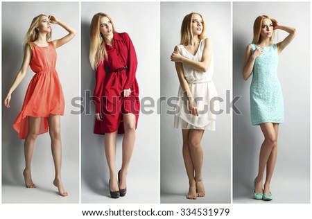 Collage of photos with beautiful young woman. Fashion concept - stock photo