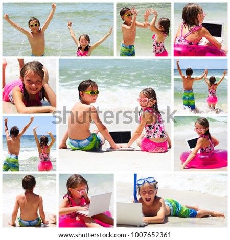 Collage of photos with children on beach while summer vacation