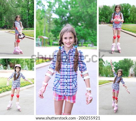 Collage of photos with girl in roller skates - stock photo