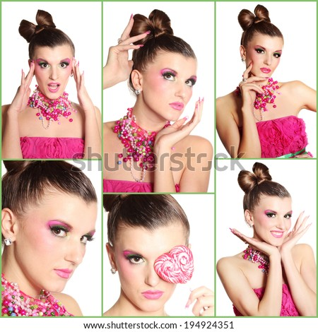 Collage of photos with glamour girl - stock photo