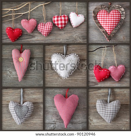 Collage of photos with hearts over grey wood background - stock photo