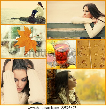 Collage of photos with lonely young woman - stock photo