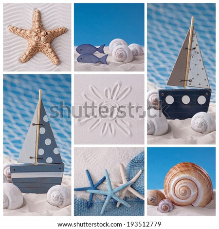 Collage of photos with marine life decoration - stock photo