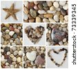 Collage of photos with stones - stock photo