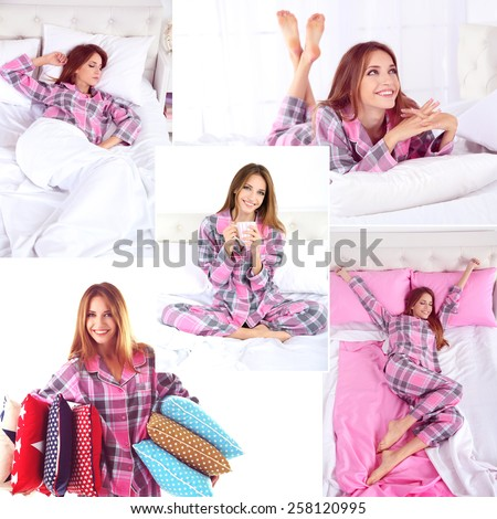Collage of photos with young beautiful woman sleeping in bed - stock photo