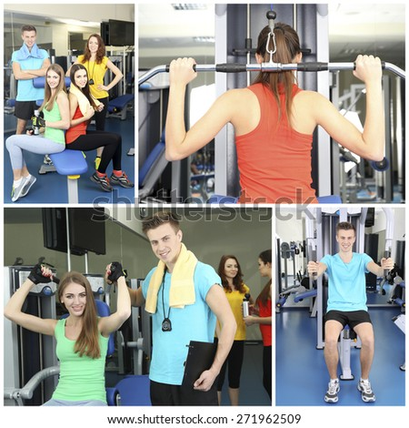 Collage of photos with young people training in gym - stock photo