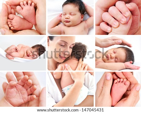 collage of pictures of happy mother with baby over white