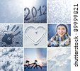 Collage of pictures on the theme of winter, snow and New Year - stock photo