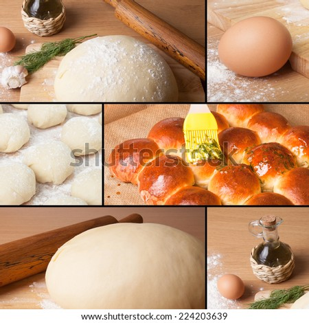 collage of pictures with baking homemade bread - stock photo