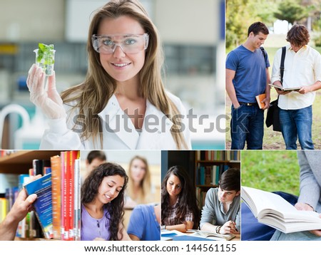 Collage of pictures with various students at the university - stock photo