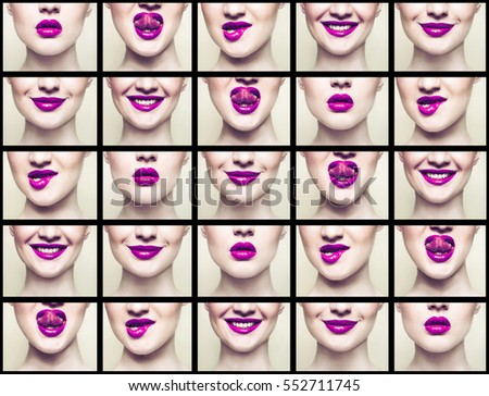 collage of pink lips, close-up portrait