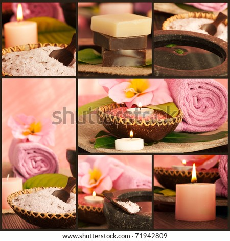 Collage of pink spa setting. - stock photo