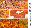 Collage of pizza food related pictures made from six images - stock photo