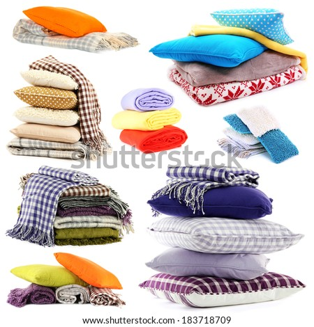 Collage of plaids and color pillows isolated on white - stock photo