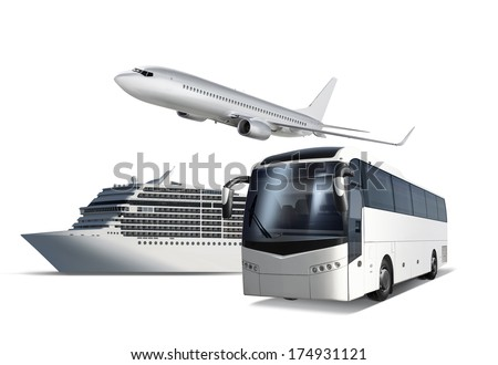 Collage of plane, ship and bus isolated on white with path, transport for travel - stock photo