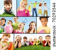 Collage of playful children doing something - stock photo