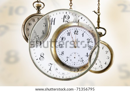 Collage of pocket watches indicating urgency