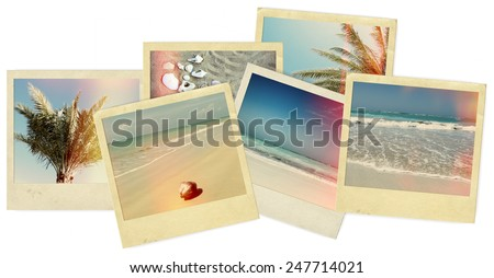 Collage of Polaroid beach photos  - stock photo