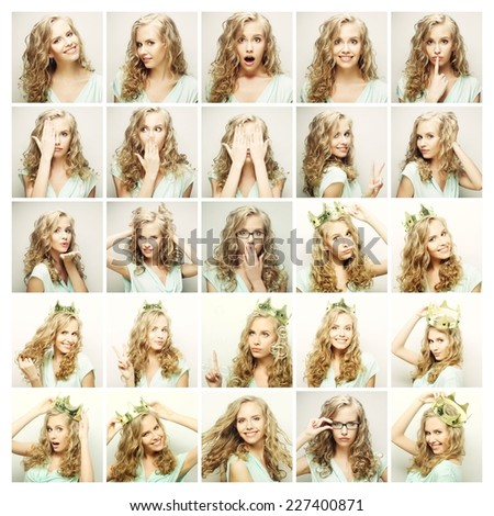 Collage of portraits of a beautiful young blond woman with crown  - stock photo