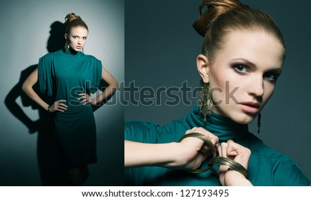 Collage of portraits of a beautiful young blonde in a green (blue) dress wearing wristbands over dark blue background. studio shot - stock photo