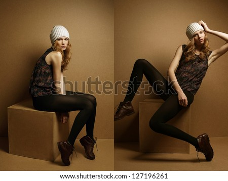 Collage of portraits of a fashionable emotive model with curly hair and white hat sitting and posing on the cube over wooden background. studio shot