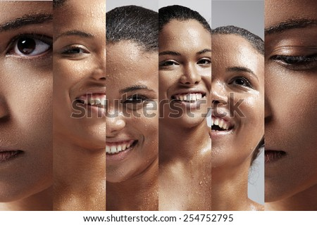 collage of portraits of a woman with a drops on her wet skin - stock photo