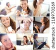 Collage of portraits of beautiful young woman with home activities - stock photo