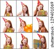Collage of portraits of little beautiful girl celebrate her birthday - stock photo