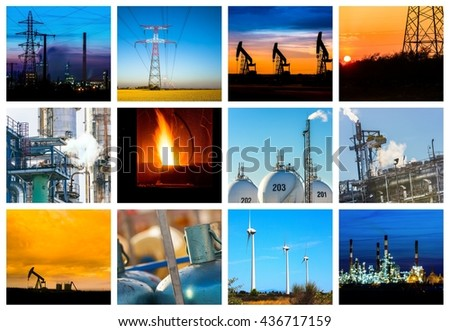 Collage of Power and energy concepts and products - stock photo