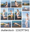 Collage of pregnant woman in sports bra doing exercise in relaxation on yoga pose on sea - stock photo