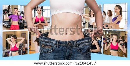 Collage of pretty fitness girls over blue background - stock photo