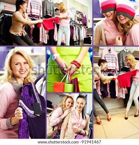 Collage of pretty friends during shopping in department store - stock photo