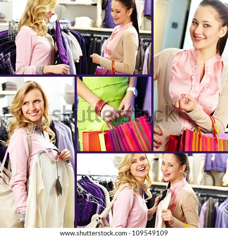 Collage of pretty girls in department store - stock photo
