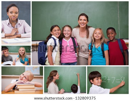 Collage of primary school pupils and teachers in the classroom - stock photo
