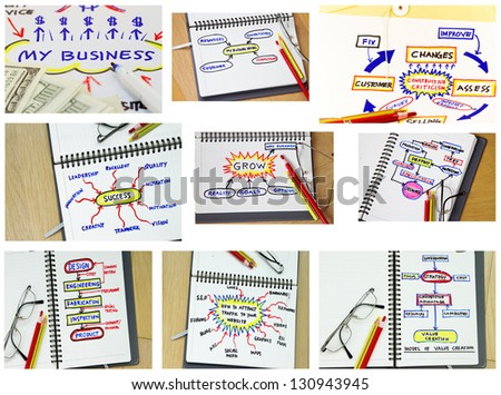 Collage of process flowchart for company goal abstract. - stock photo