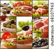 Collage of prosciutto and cheese sandwich with olives and lettuce. - stock photo