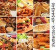 Collage of pub food including cheese burgers, wings, nachos, fries, pizza, ribs, deep fried prawns and calamari. - stock photo