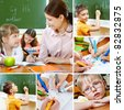Collage of pupils and their teacher in classroom at lesson - stock photo