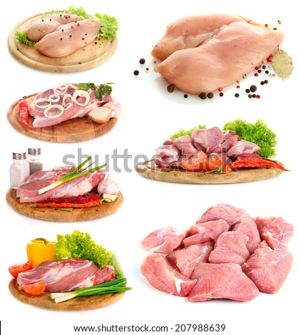 Collage of raw meat isolated on white - stock photo
