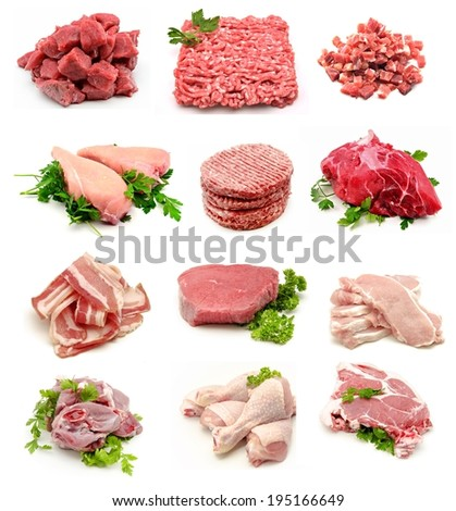 Collage of raw meats - stock photo