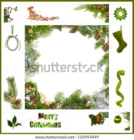 Collage of red Christmas items - stock photo