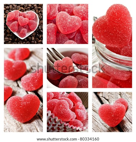 Collage of red heart shaped jelly sweets - stock photo
