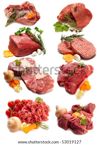 collage of red meat with ingredients - stock photo