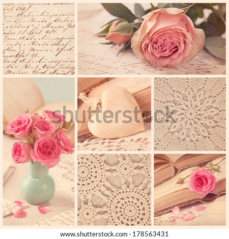 Collage of retro photos with roses and old letters - stock photo