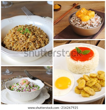 Collage of rice recipes