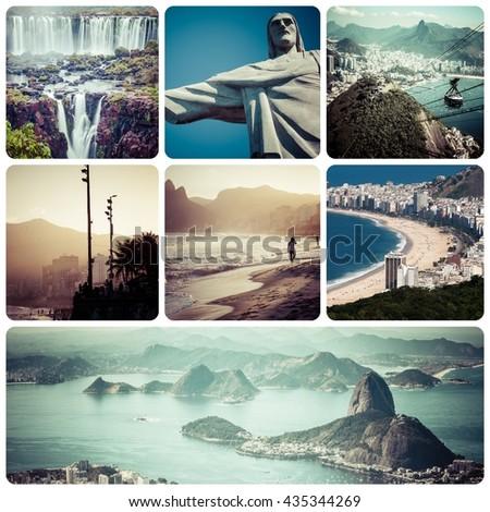 Collage of Rio de Janeiro (Brazil) images - travel background (my photos) - stock photo