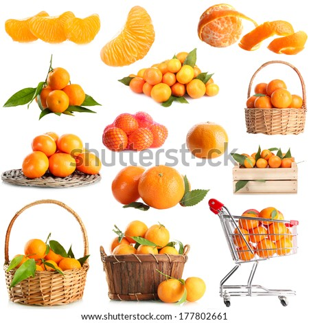 Collage of ripe tangerines isolated on white - stock photo
