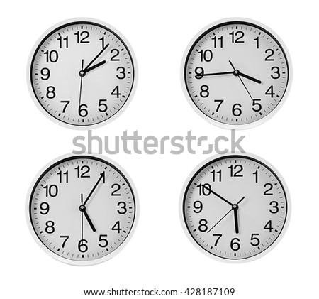 Collage of round wall clocks, isolated on white - stock photo